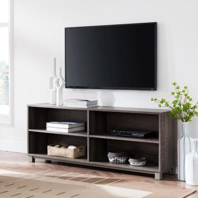 Jodie 62 in. Gray Washed Burnt Oak Wood TV Stand Fits TVs Up to 60 in. with Adjustable Shelves
