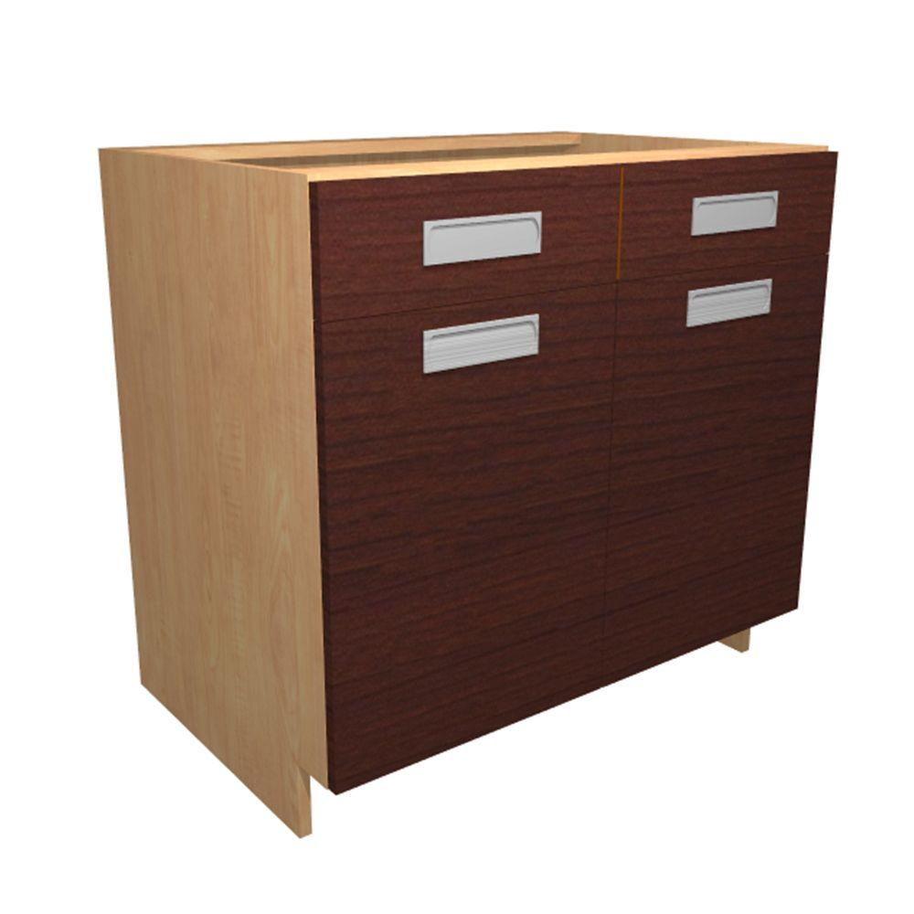 Home Decorators Collection Genoa Ready to Assemble 30 x 34.5 x 24 in. Base Cabinet with 2 Soft Close Doors and 1 Soft Close Drawer in Cherry, Red/Thermo-Fused Melamine