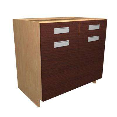 Genoa Ready to Assemble 36 x 34.5 x 24 in. Base Cabinet with 2 Soft Close Doors and 1 Soft Close Drawer in Cherry