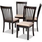 Minette Sand Brown and Espresso Fabric Dining Chair (Set of 4)