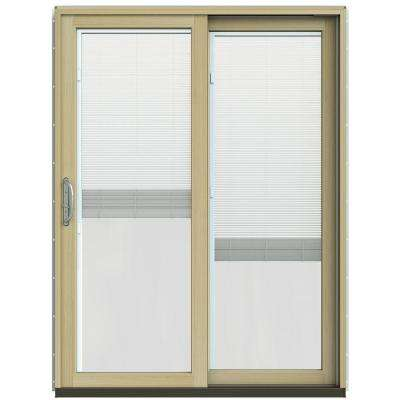59-1/4 in. x 79-1/2 in. W-2500 Hartford Green Prehung Right-Hand Clad-Wood Sliding Patio Door with Blinds