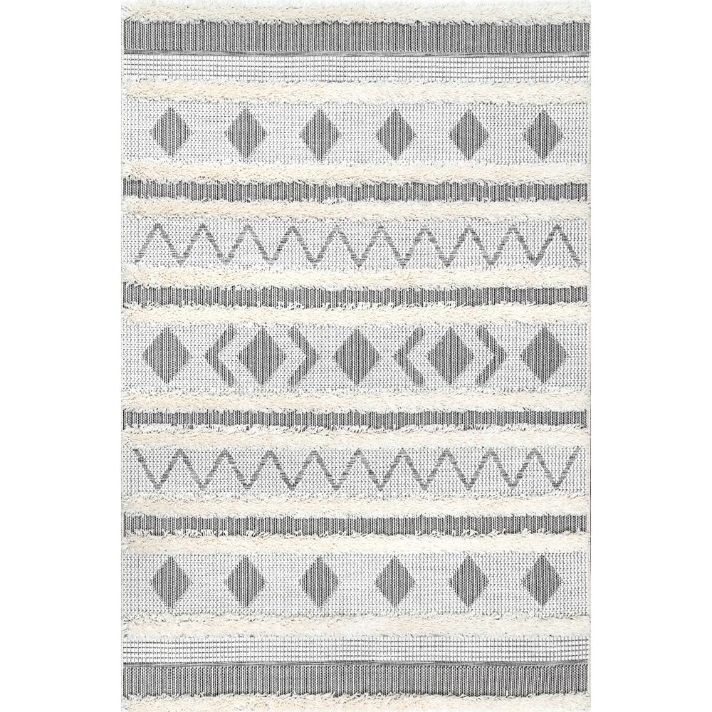 78fad757df5 nuLOOM Geometric Tribal Lora Off White 8 ft. 6 in. x 11 ft. 6 in ...