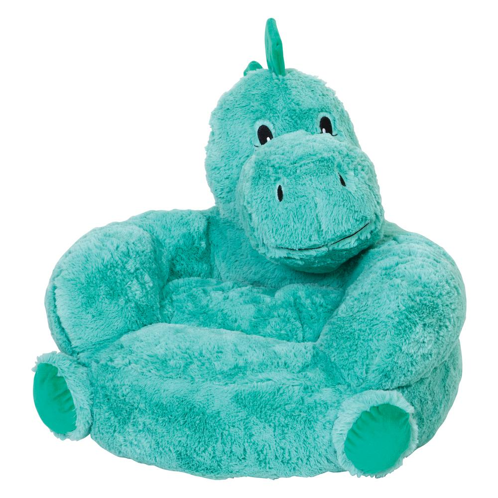 Trend Lab Green Childrenu0027s Plush Dinosaur Character Chair