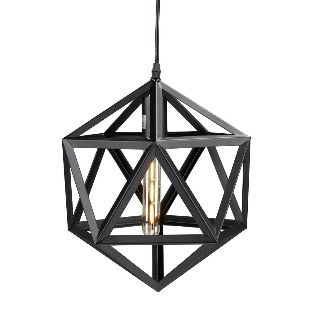 perdue 1light matte black geometric cage pendant lamp