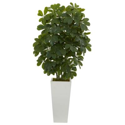 40 in. Schefflera  Artificial Plant in White Vase (Real Touch)