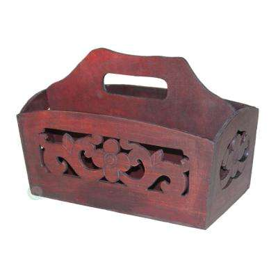 "12""W x 6""D x 8""H Hand Carved Wood Magazine Holder"