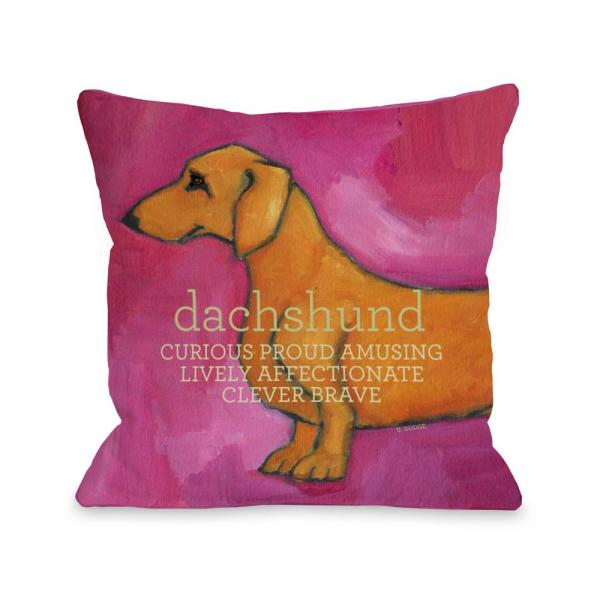 Dachshund 16 in. x 16 in. Decorative Pillow 70134PL16