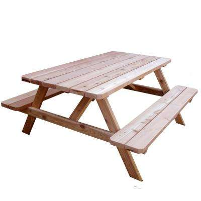 64-3/4 in. x 66 in. Wood Patio Picnic Table