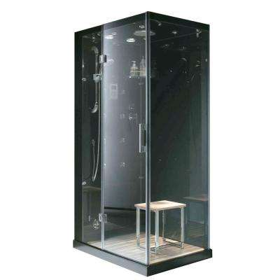 Jupiter Plus 43 in. x 31 in. x 86 in. Steam Shower Enclosure Kit in Black
