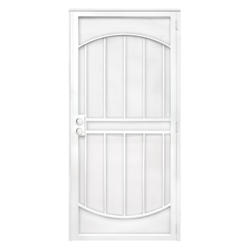 Unique home designs 36 in x 80 in arcadamax white for Metal security doors