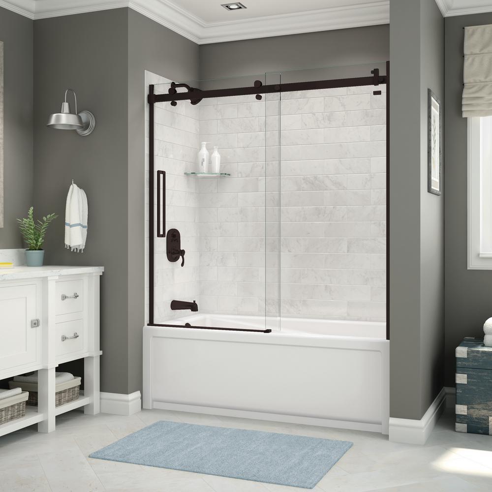 Utile 32 in. x 60 in. x 81 in. Bath and Shower Combo in Marble Carrara with New Town Left Drain, Halo Door Dark Bronze