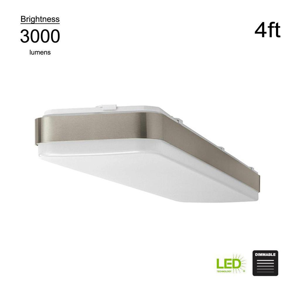 Hampton Bay Wrap Style 4 ft. Rectangular White 64 Watt Equivalent Integrated LED Flushmount (Bright/Cool White, Dimmable)