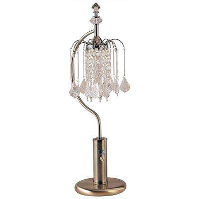 27 in. H Antique Brass Table Lamp with Crystal Inspired Shade