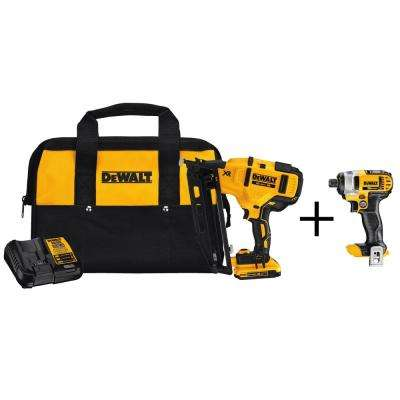 20-Volt MAX 16-Gauge Cordless Angled Nailer Kit with Bonus Bare 20-Volt MAX 1/4 in. Cordless Impact Driver