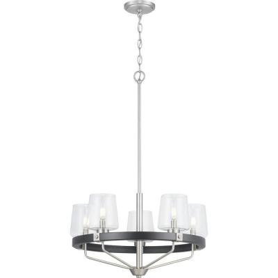 Progress Lighting Estella 5-Light Satin Nickel Chandelier with Matte Black Accents and Clear Glass Shades