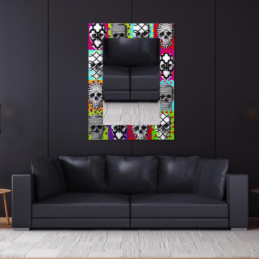 "48 in. x 36 in. ""Sugar Skulls"" Rectangular Beveled Mirror on Free Floating Reverse Printed Tempered Art Glass"