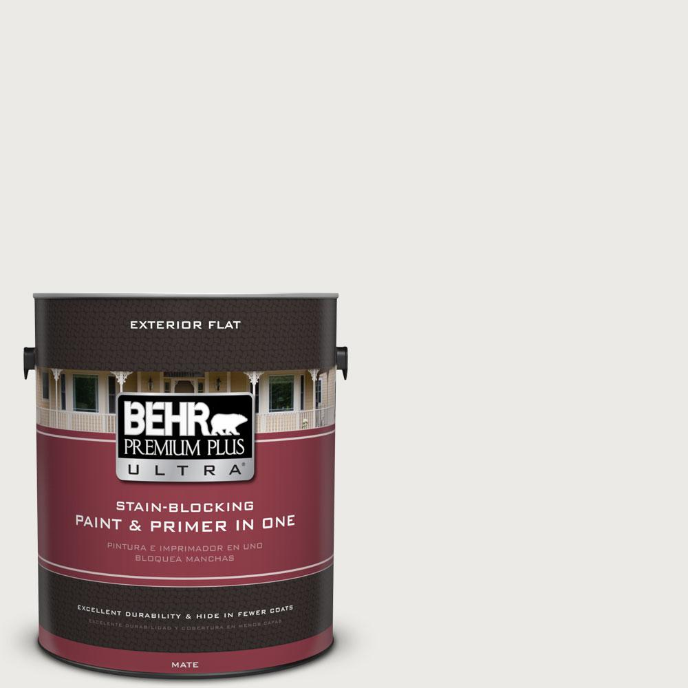 Behr Premium Plus Ultra 1 Gal 52 White Flat Exterior Paint And Primer In One 485001 The Home Depot