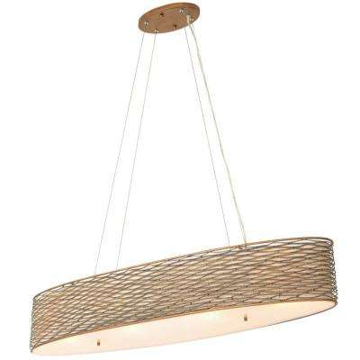 Flow 4-Light Hammered Ore Linear Pendant with Tan Silk Slug Shade and Acrylic Diffuser