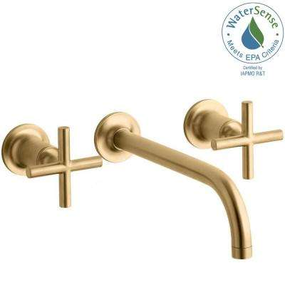 Purist Wall-Mount 2-Handle Water-Saving Bathroom Faucet Trim Kit in Vibrant Moderne Brushed Gold