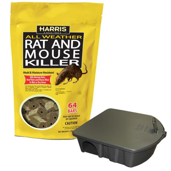 4 lbs./64 Bars All Weather Rat and Mouse Killer and Locking Rat and Mouse Refillable Bait Station
