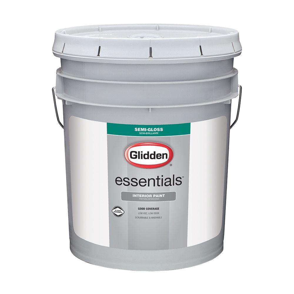 Glidden Essentials 5 Gal White Semi Gloss Interior Paint Gle 3000 05 The Home Depot