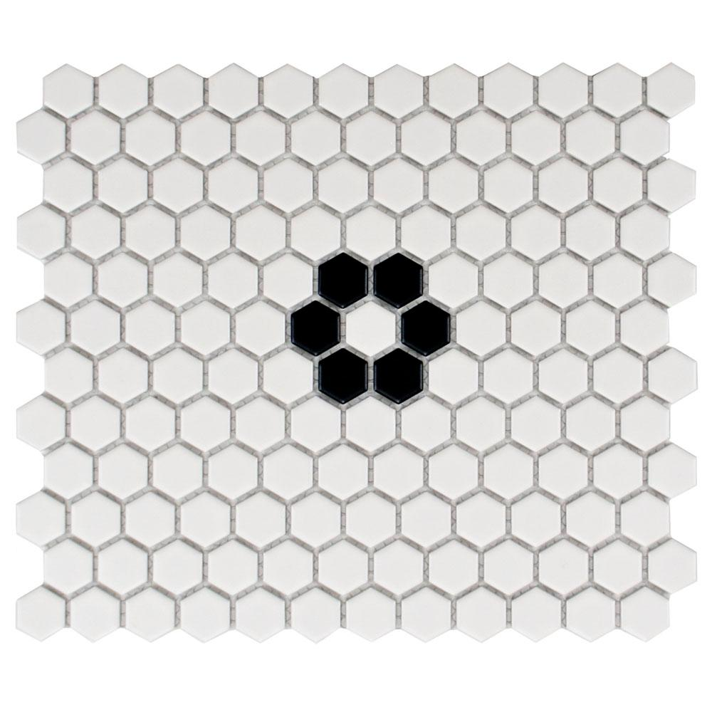 Image by amazing porcelain hexagon tile decorating ideas gallery in - Merola Tile Metro Hex Matte White With Single Flower 10 1 4 In X 11 3 4 In X 5 Mm Porcelain Mosaic Tile 8 54 Sq Ft Case Fxlm1hmf The Home Depot