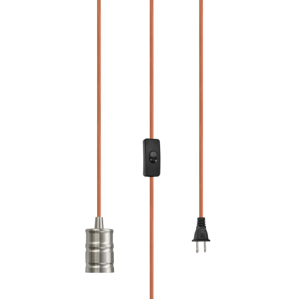 Ge Pull Chain Brass Lamp Socket Housing Aluminum 52204 The Home Wiring Old Lamps 1 Light Satin Nickel Vintage Plug In Hanging Pendant Fixture With Orange