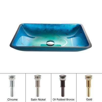 Irruption Rectangular Glass Vessel Sink in Blue with Pop-Up Drain in Oil Rubbed Bronze