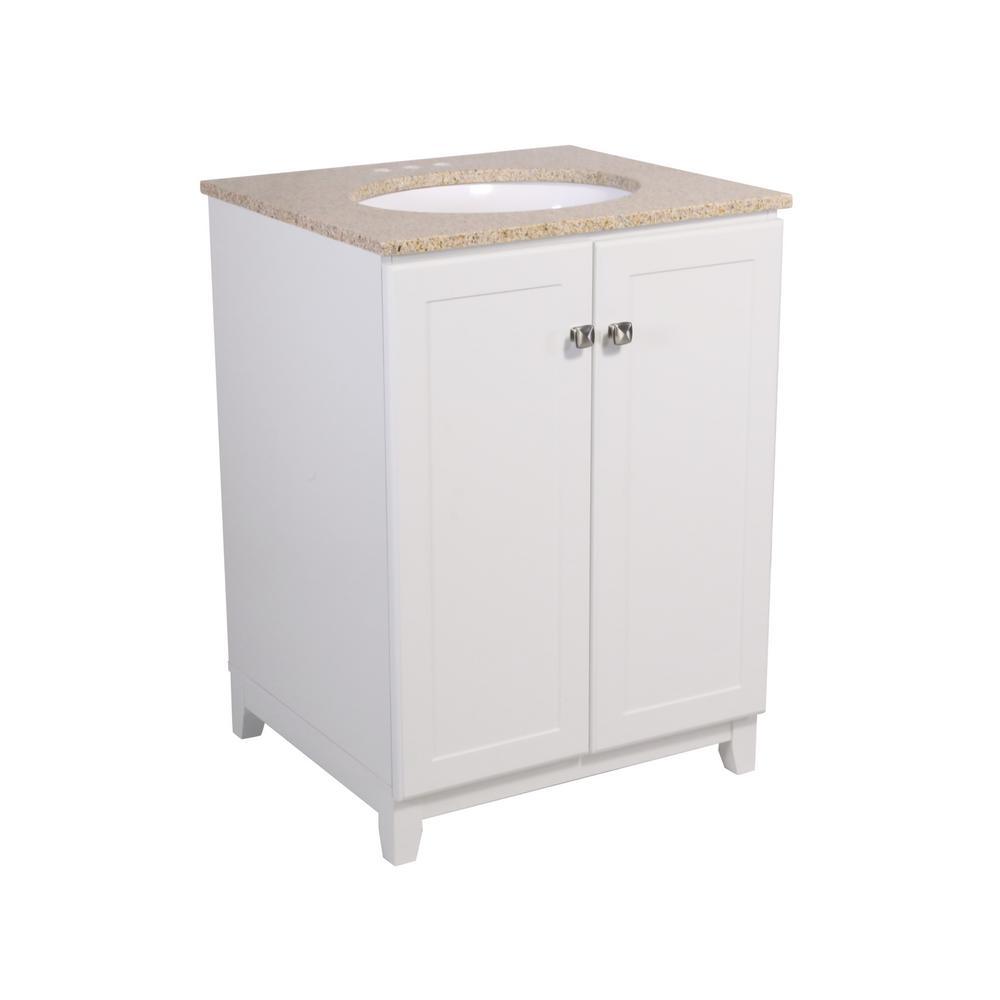 Design House 24 in. x 21 in. x 33 in. Shorewood 2-Door Vanity Cabinet in White with Golden Sand Granite Vanity Top with White Basin