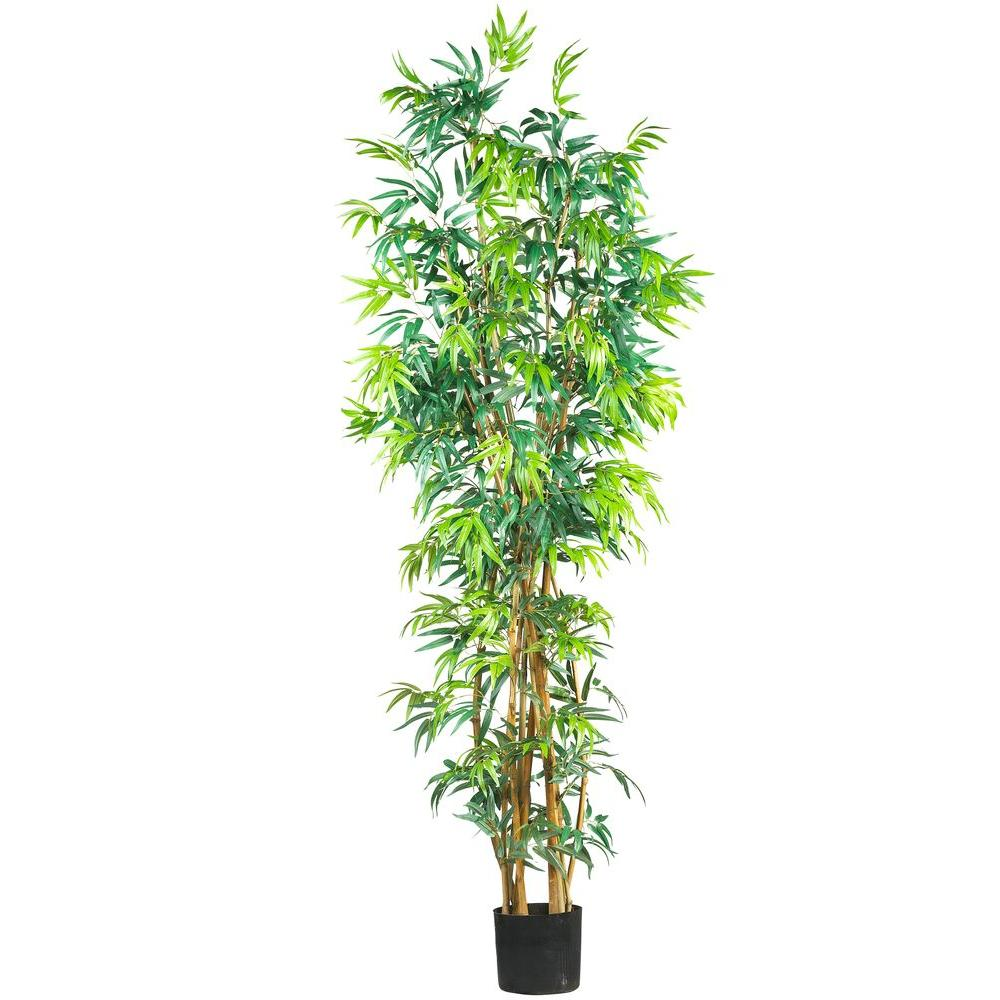 Nearly Natural 7 ft. Curved-Trunk Bamboo Silk Tree