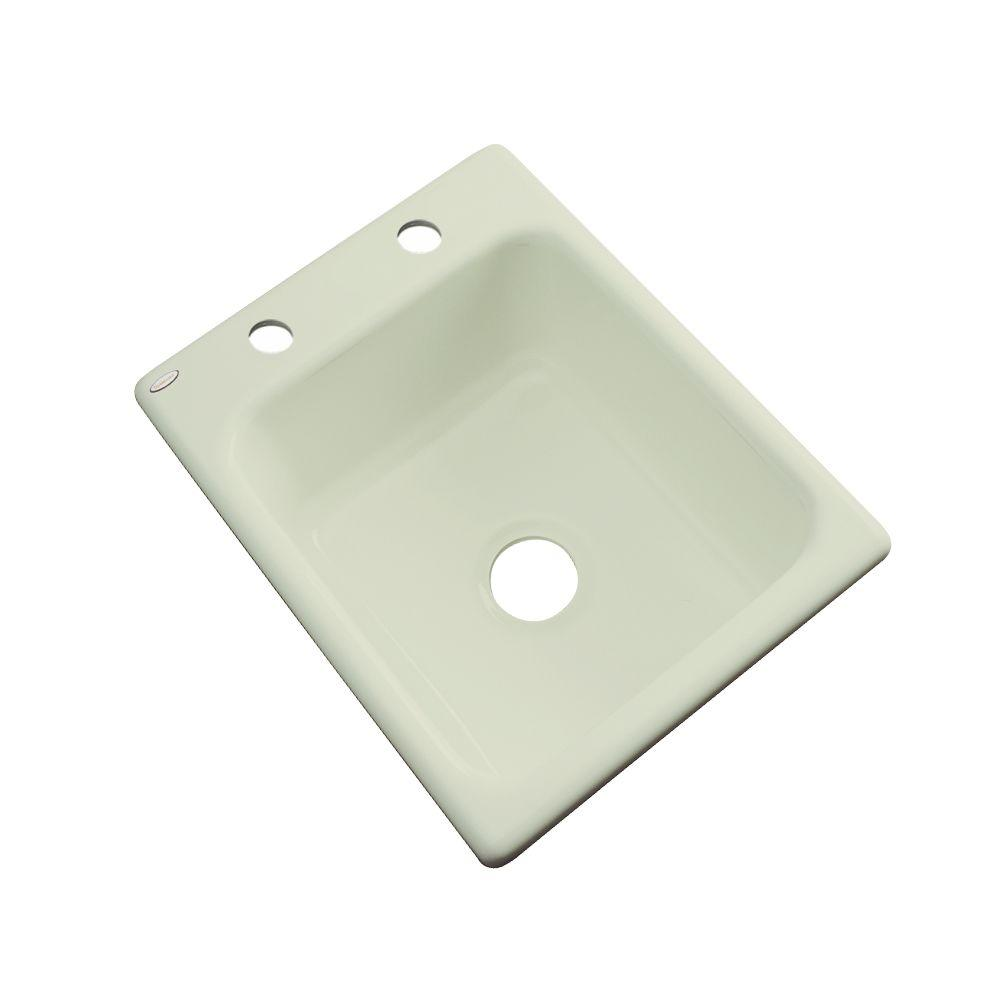 Thermocast Crisfield Drop-In Acrylic 17 in. 2-Hole Single Bowl Prep Sink in Jersey Cream