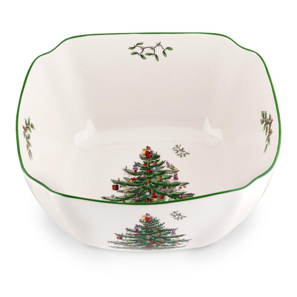 "Christmas Tree 10"" Ceramic Large Square Bowl"