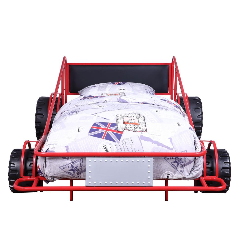 Taban Red/Silver and Black PU Twin Bed