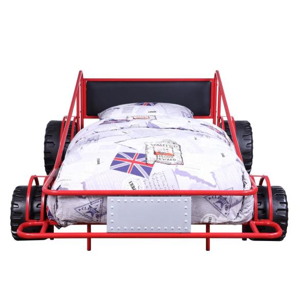 Acme Furniture Taban Red/Silver and Black PU Twin Bed 38070T