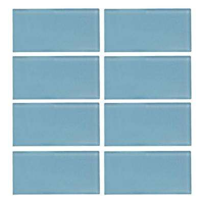 Caribbean Water Gloss 3 in. x 6 in. x 8 mm Glass Wall Tile