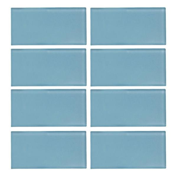 Caribbean Water Blue 3 in. x 6 in. Glossy Glass Wall Tile (1 sq. ft. / pack)