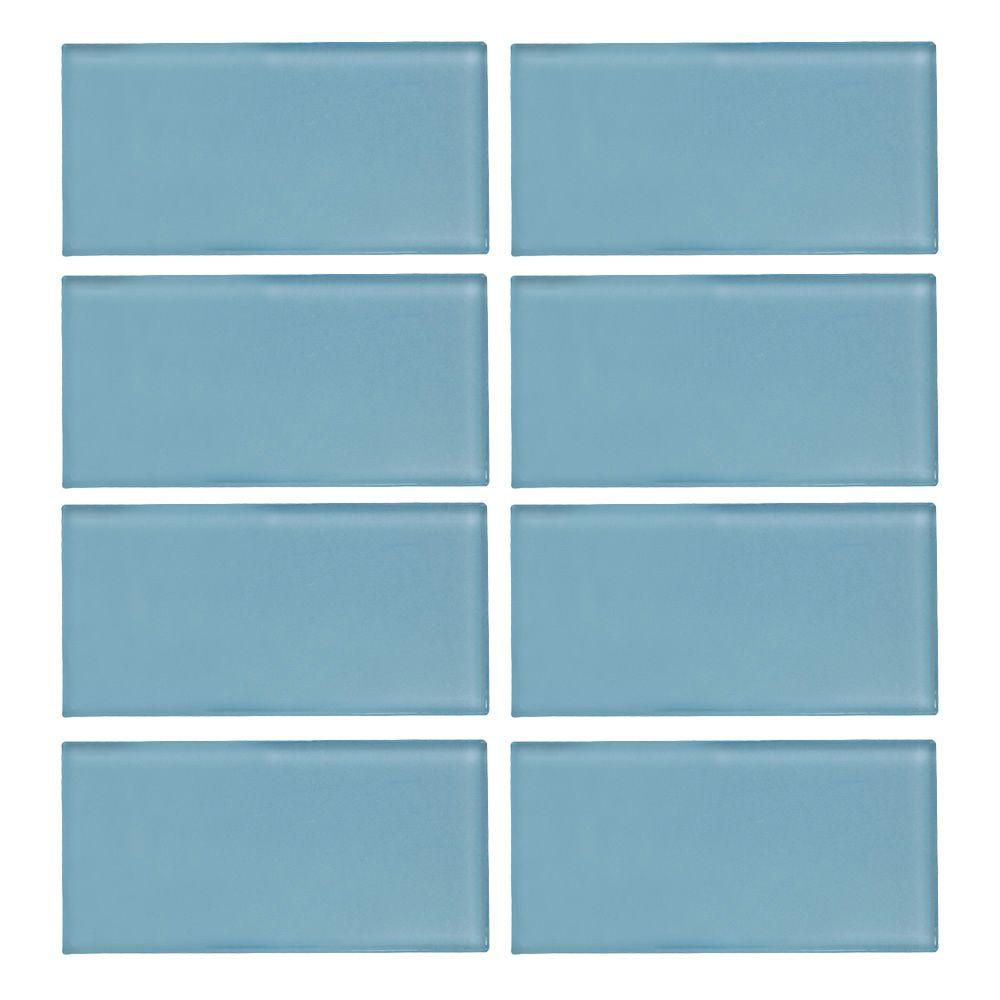 Jeffrey Court Caribbean Water Gloss 3 in. x 6 in. x 8 mm Glass Wall ...