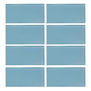 Jeffrey Court Caribbean Water Gloss 3 In X 6 8 Mm Gl Wall Tile Pieces Pack 99514 The Home Depot