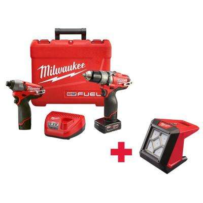 M12 FUEL 12-Volt Cordless Lithium-Ion 1/2 in. Hammer Drill/Driver and Impact Combo Kit with Free M12 Flood Light