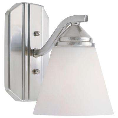Holland Collection 1-Light Satin Platinum Wall-Mount Sconce