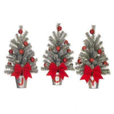 15 in h snowy silver glitter mini pine trees in j o y buckets set - Home Depot Christmas Decorations
