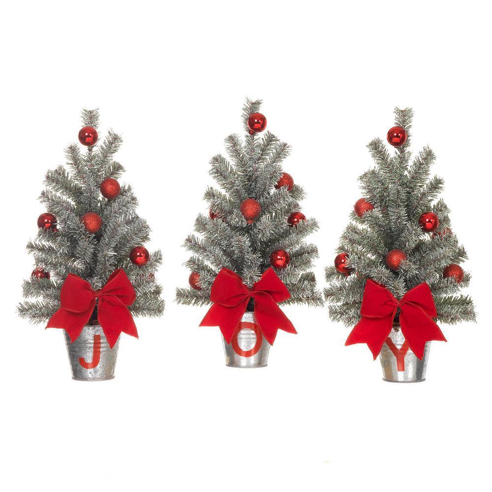 15 in. H Snowy Silver Glitter Mini Pine Trees in J-O-Y Buckets Set