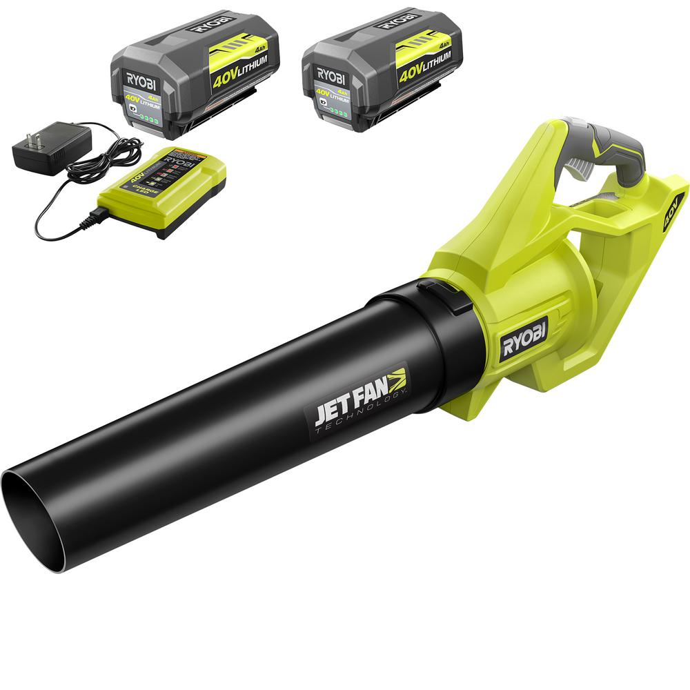 RYOBI 110 MPH 500 CFM 40-Volt Lithium-Ion Cordless Variable-Speed Jet Fan Leaf Blower-Two 4.0 Ah Batteries, Charger Included