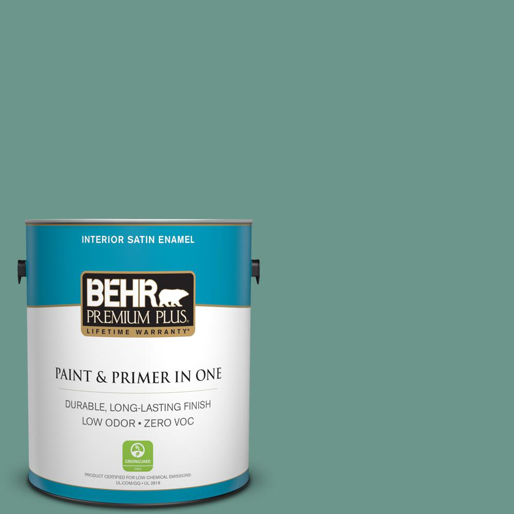 1-gal. #M440-5 Lunar Tide Satin Enamel Interior Paint