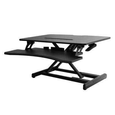 Airlift Black 30 in. Compact Gas-Spring Height Adjustable Ergonomic Desk Riser with Dual Monitor and Keyboard Tray
