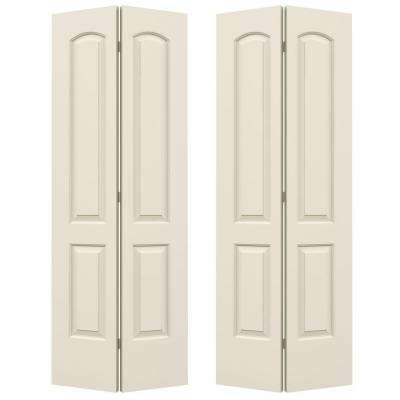 Smooth 2-Panel Arch Top Hollow Core Composite Molded Interior Closet Bi-fold Door