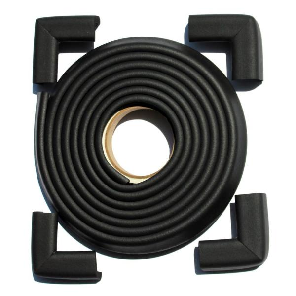 12 ft. Edge and Corner Safety Cushion Roll Plus Corners in Black (4-Pack)