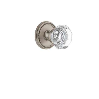 Soleil Rosette 2-3/8 in. Backset Satin Nickel Privacy Bed/Bath with Chambord Crystal Door Knob