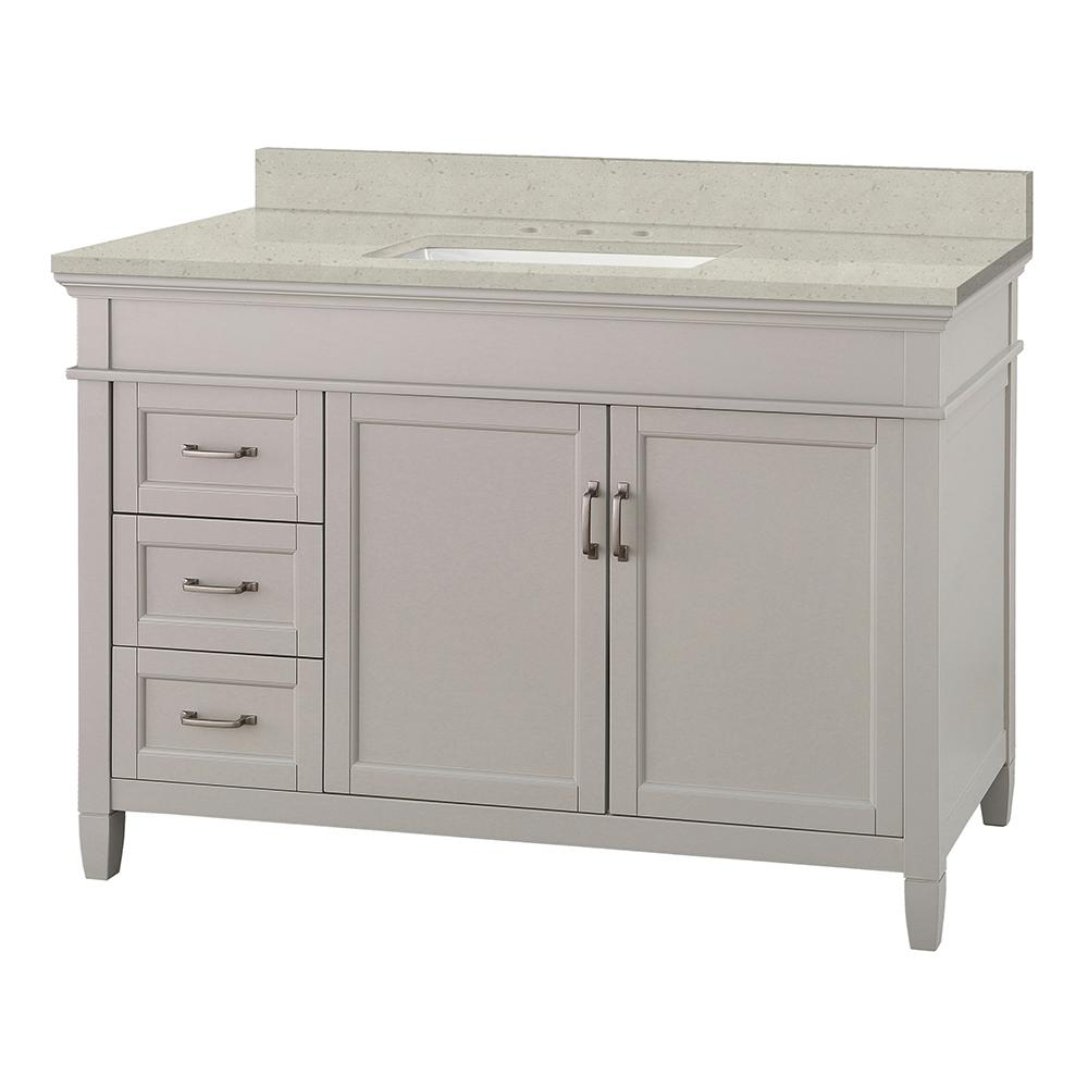 Home Decorators Collection Ashburn 49 in. W x 22 in. D Vanity Cabinet in Grey with Engineered Quartz Vanity Top in Stoneybrook with White Sink