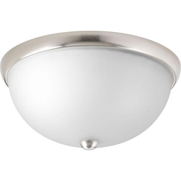 Glass Domes Collection 2-Light Brushed Nickel Flush Mount with Etched Glass Bowl
